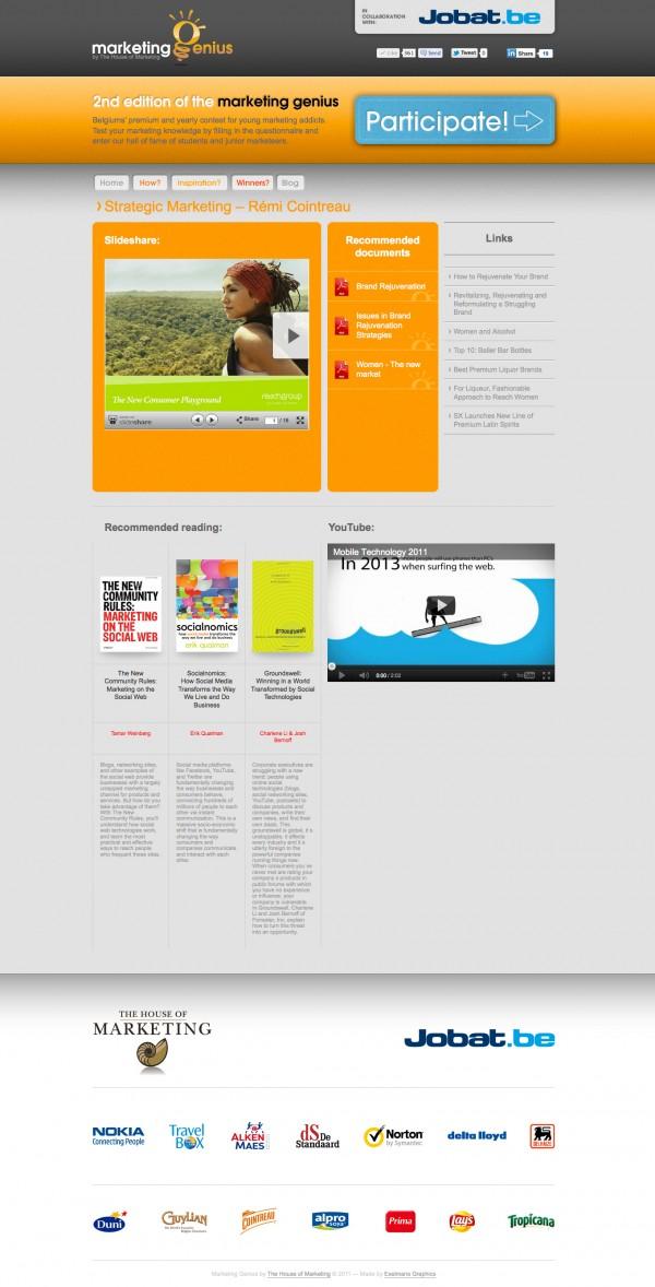 Marketing Genius Website Inspiration Page