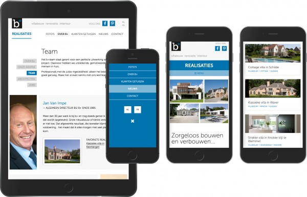 responsive web design development b+ villas interiors construction renovation
