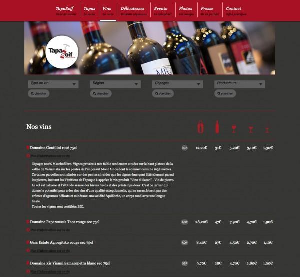 tapasoif restaurant website design wines website